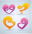 vector collection of glossy love symbols, signs and forms