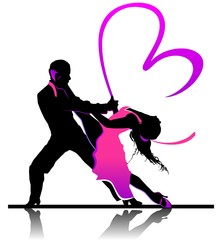 Valentine's day illustration with beautiful dancing couple