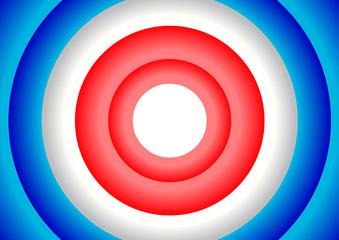 Cercles concentriques - bleu blanc rouge