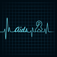Heartbeat make aids word and symbol stock vector