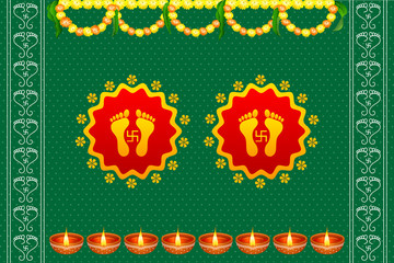 vector illustration of footprints of Goddess Lakshami on Diwali
