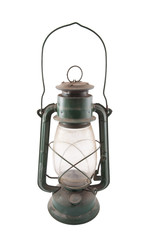 Old dirty oil lamp with clipping path