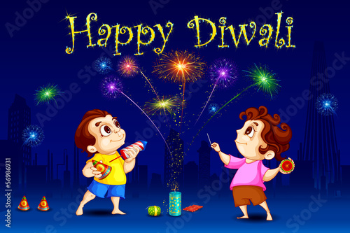 vector illustration of kids enjoying Diwali