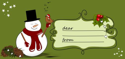 Geschenkkarte, Tischkarte mit Schneemann