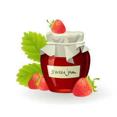 Strawberry jam with fresh raspberries