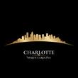 Charlotte North Carolina city skyline silhouette black backgroun