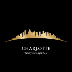 Charlotte North Carolina city skyline silhouette black backgroun