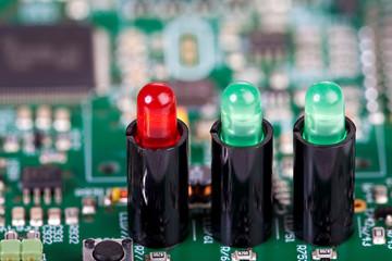 Nahaufnahme von 3 LED auf Platine