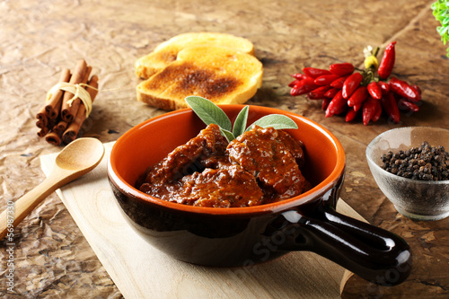 Goulash, boiled meat with paprika