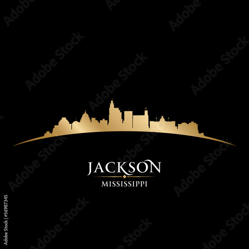 Jackson Mississippi city skyline silhouette black background
