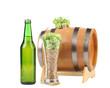 Barrel mug with hop and bottle of beer.