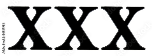 Three large X letters on a white background