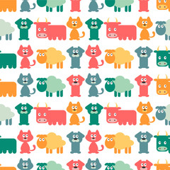 Seamless pattern with cute domestic animals