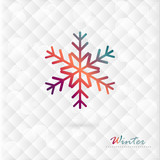 Vector colorful snowflake on winter background of diamonds.