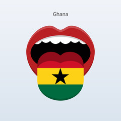 Ghana language. Abstract human tongue.