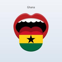 Ghana language. Abstract human tongue.