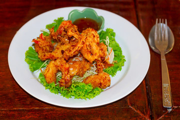 Deep fried squid rings on the plate with salad