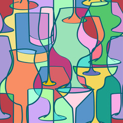 Seamless pattern of cocktail glasses