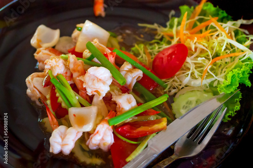 Thai dish with king prawns and lemon grass