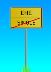 Single; Ehe; Liebe; Paar; Sonne, Himmel, Bindung; Ortsschild; Ve