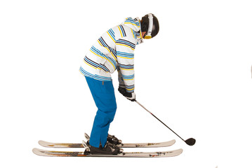 Mixed up young man who can't decide between golf and skiing, fun