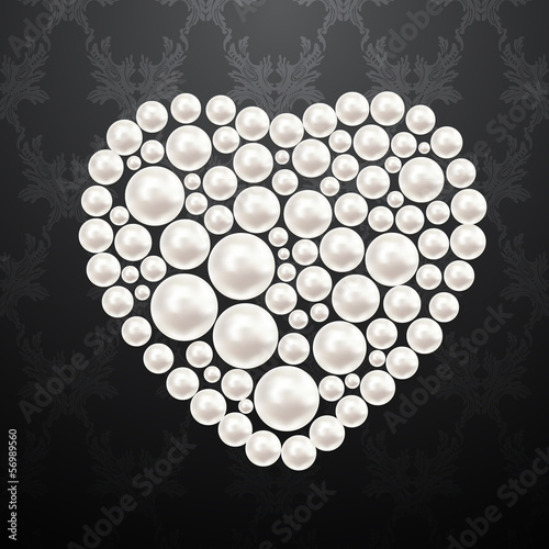 Pearl heart. Vector illustration.