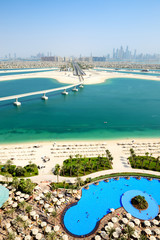 View on Jumeirah Palm man-made island, Dubai, UAE