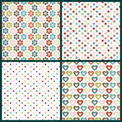 4 Seamless Pattern Birthday Retro Color
