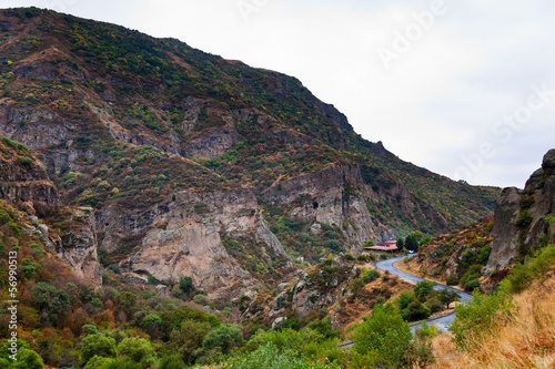 road in gorge of Azat river in Armenia.