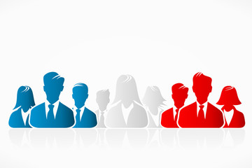 USA, United Kingdom and French flag business silhouettes