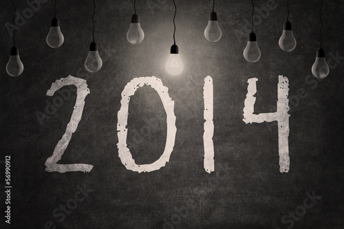 Blackboard with New year 2014