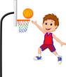 Cartoon boy playing basket ball