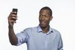 African American man taking selfie picture, horizontal