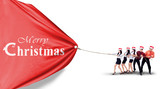Businesspeople is pulling christmas banner isolated