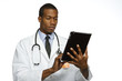 Black doctor using electronic tablet, horizontal