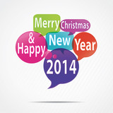 speech bubbles : merry christmas & happy new year 2014