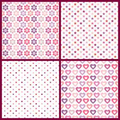 4 Seamless Pattern Birthday Retro Pinkmix