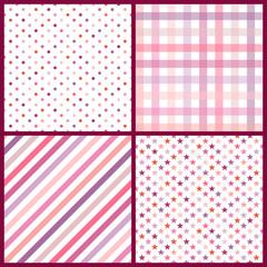 Collection 4 Seamless Pattern Birthday Retro