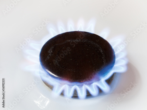 gas in range burner of kitchen stove