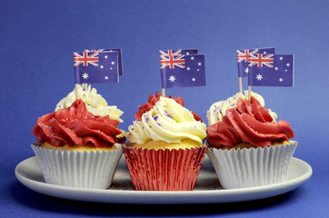 Australian theme red, white and blue cupcakes & flags