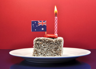 Australia Day, lamington cake with candle