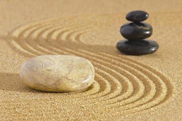 Japan ZEN garden in sand with stone