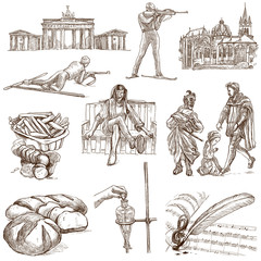 traveling Germany - hand drawings - white part 1