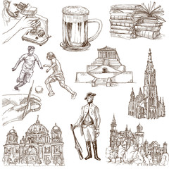 traveling Germany - hand drawings - white part 2