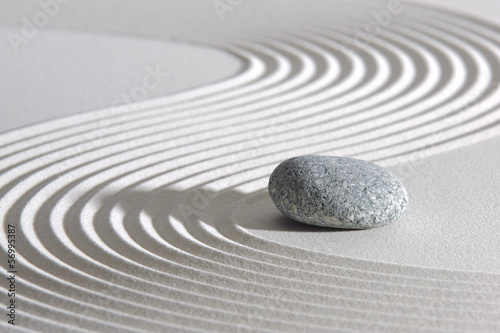 Fotobehang Stenen in het Zand Japan ZEN garden in sand with stone
