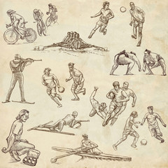 Sporting events - hand drawings - old paper part 2
