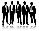 group of businessma standing and posing - vector