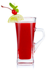 Glass of hot fruit tea with fresh mint and cherry berry isolated