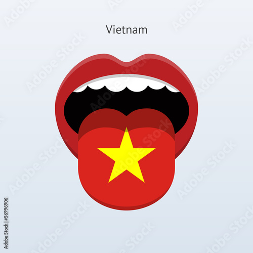Vietnam language. Abstract human tongue.