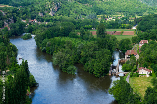 Landscape with river the Lot in France